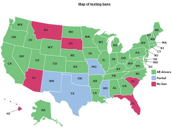 Map of USA - Texting and Driving Ban.jpg